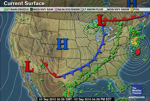 Green Sky Chaser Weather In The USA - Us current surface map